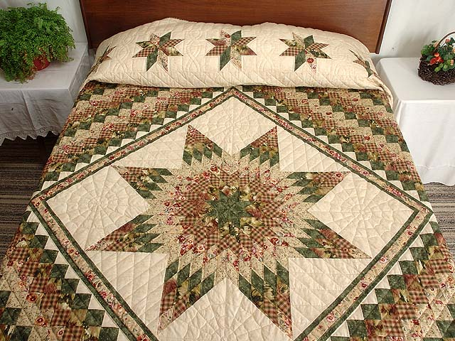 King Green Rose and Tan Lone Star Trip Quilt Photo 1