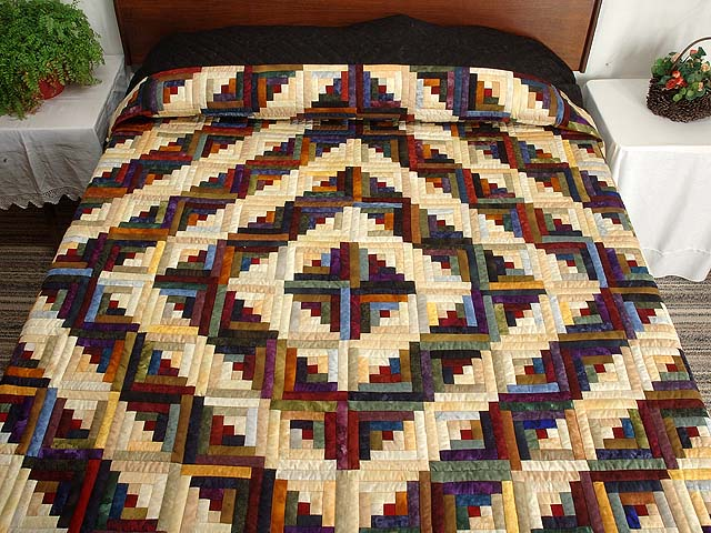 Batik Log Cabin Quilt Photo 1