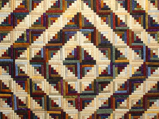 Batik Log Cabin Quilt Photo 3