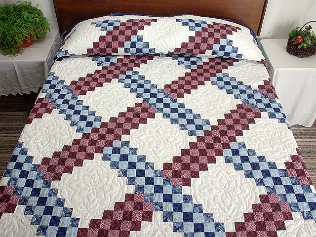 Blue and Burgundy Triple Irish Chain Quilt Photo 1