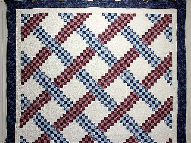 Blue and Burgundy Triple Irish Chain Quilt Photo 2