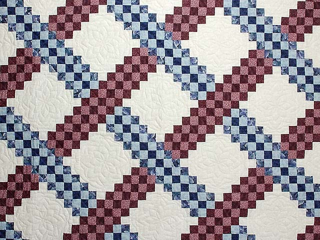Blue and Burgundy Triple Irish Chain Quilt Photo 3