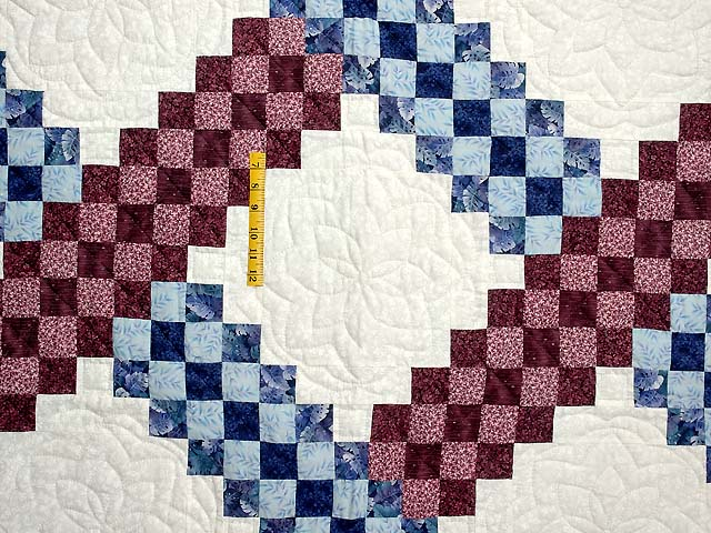 Blue and Burgundy Triple Irish Chain Quilt Photo 4