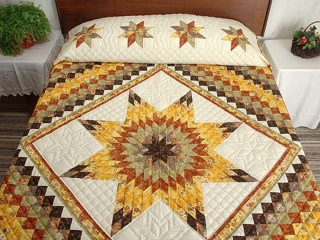 Gold Red and Moss Lone Star Trip Quilt Photo 1