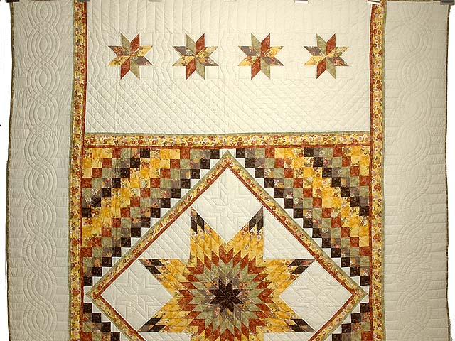 Gold Red and Moss Lone Star Trip Quilt Photo 2