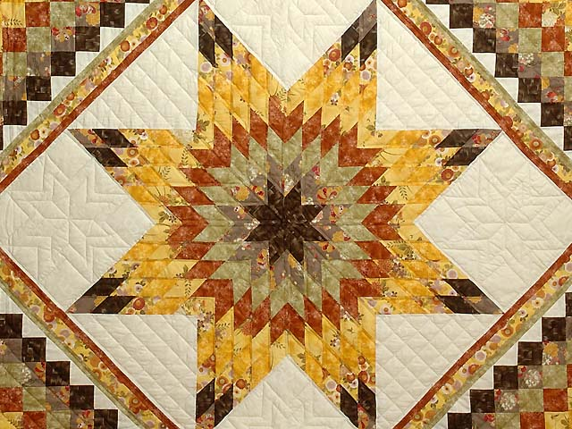 Gold Red and Moss Lone Star Trip Quilt Photo 3