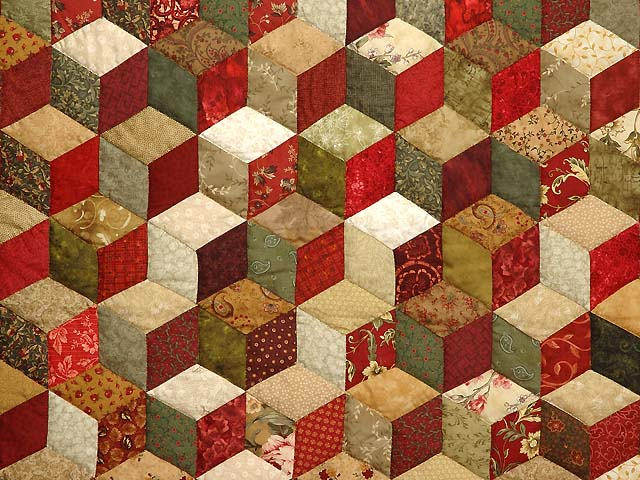 Red Gold and Multicolor Tumbling Blocks Quilt Photo 3