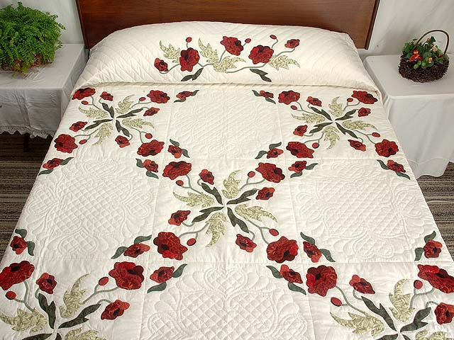 Dark Green and Crimson Poppy Fields Quilt Photo 1