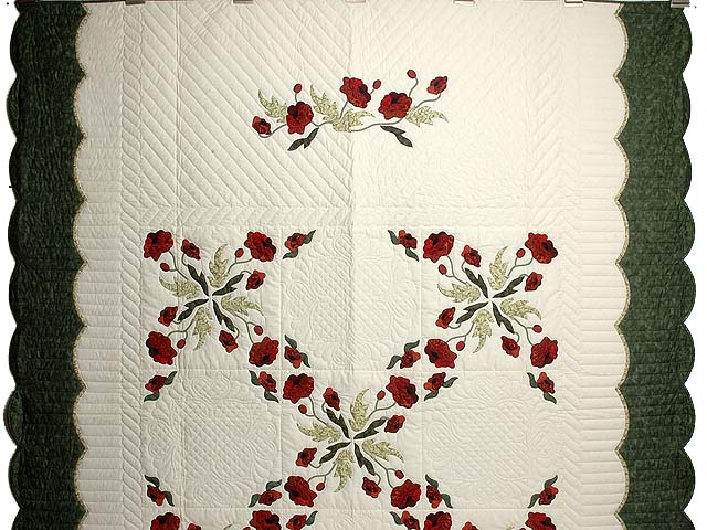 Dark Green and Crimson Poppy Fields Quilt Photo 2