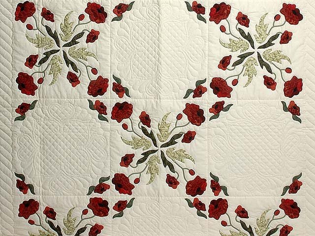 Dark Green and Crimson Poppy Fields Quilt Photo 3