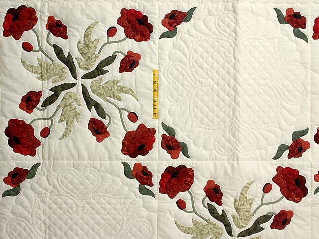 Dark Green and Crimson Poppy Fields Quilt Photo 4