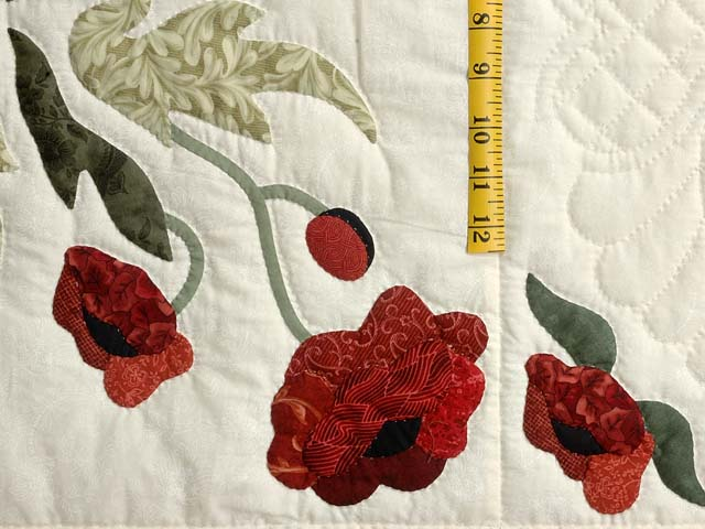 Dark Green and Crimson Poppy Fields Quilt Photo 5
