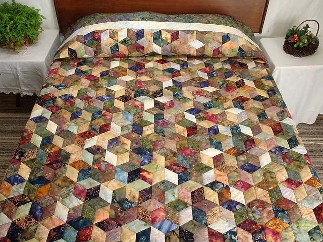 King Marble Tones Hand Painted Tumbling Blocks Quilt Photo 1