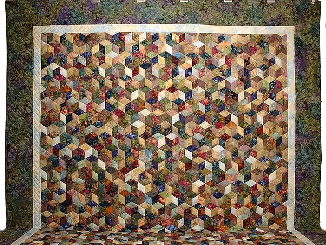 King Marble Tones Hand Painted Tumbling Blocks Quilt Photo 2