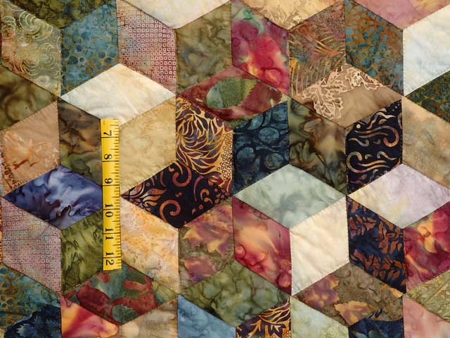King Marble Tones Hand Painted Tumbling Blocks Quilt Photo 4