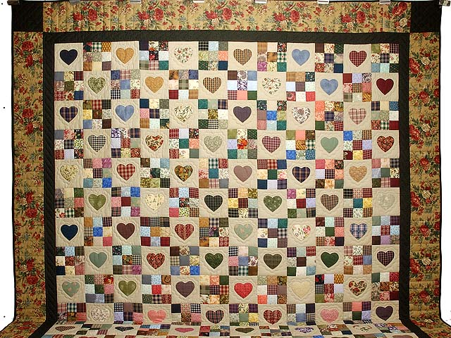King  Multicolor Hearts and Nine Patch Quilt Photo 2