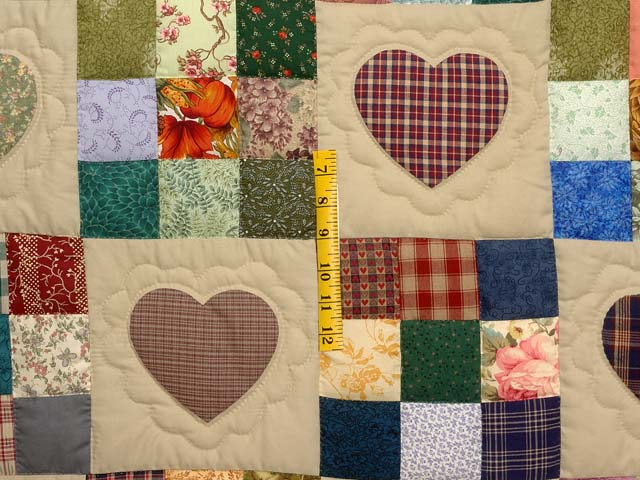 King  Multicolor Hearts and Nine Patch Quilt Photo 4