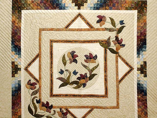 King Gold Plum and Blue Rainbow Reflections Quilt Photo 3