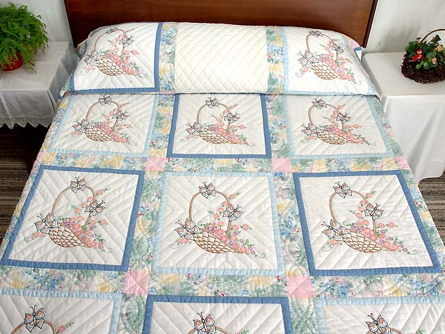 Pastel Blue and Multi Embroidered Baskets Quilt Photo 1