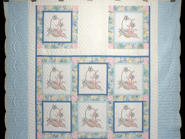 Pastel Blue and Multi Embroidered Baskets Quilt Photo 2