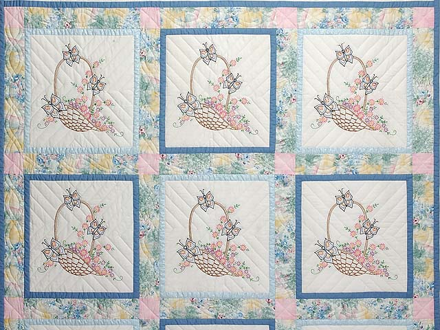 Pastel Blue and Multi Embroidered Baskets Quilt Photo 3