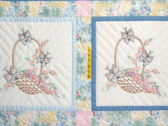 Pastel Blue and Multi Embroidered Baskets Quilt Photo 4