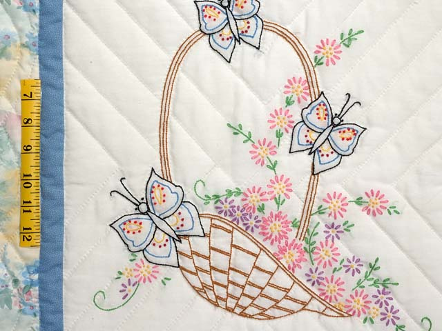 Pastel Blue and Multi Embroidered Baskets Quilt Photo 5