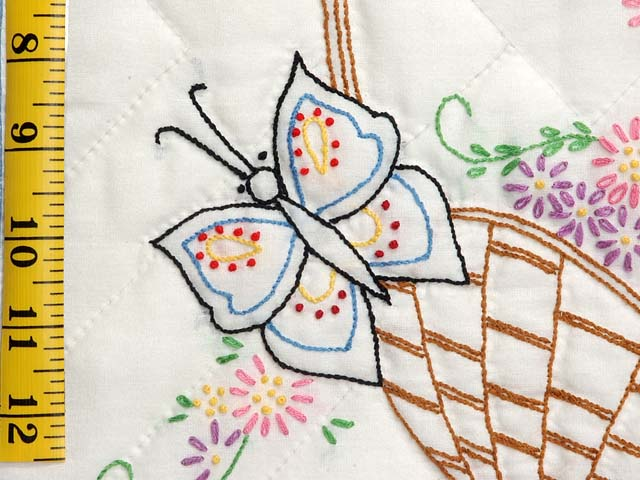 Pastel Blue and Multi Embroidered Baskets Quilt Photo 6