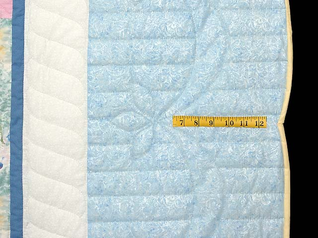 Pastel Blue and Multi Embroidered Baskets Quilt Photo 7