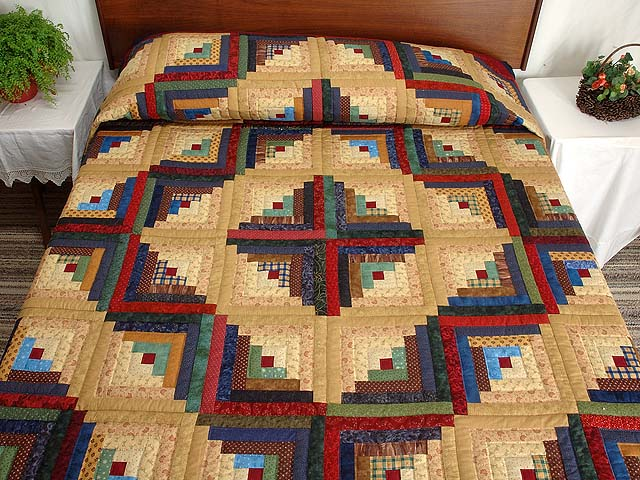 Country Colors Log Cabin Quilt Photo 1