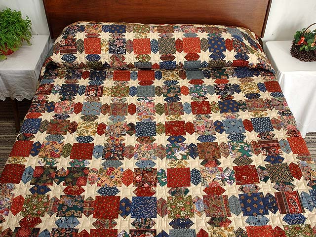 Brown  Gold and Multicolor Starry Path Quilt Photo 1