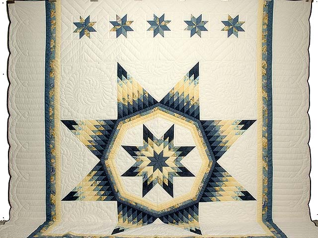 King Navy Blue and Yellow Royal Star of Maryland Quilt Photo 2