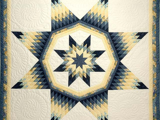 King Navy Blue and Yellow Royal Star of Maryland Quilt Photo 3