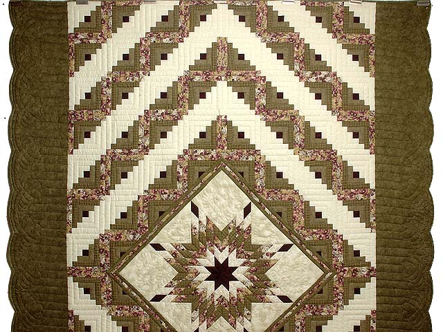 Moss and Purple Lone Star Log Cabin Quilt Photo 2