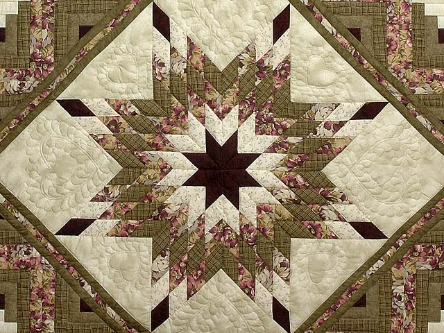 Moss and Purple Lone Star Log Cabin Quilt Photo 3