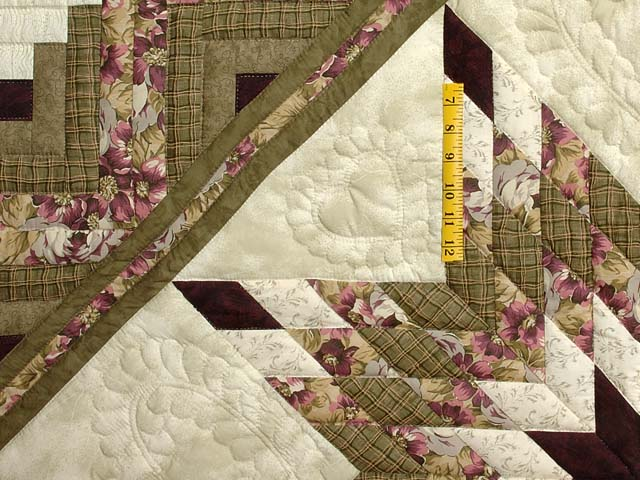 Moss and Purple Lone Star Log Cabin Quilt Photo 4