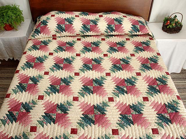 Rose Pink Teal Green Pineapple Quilt Photo 1