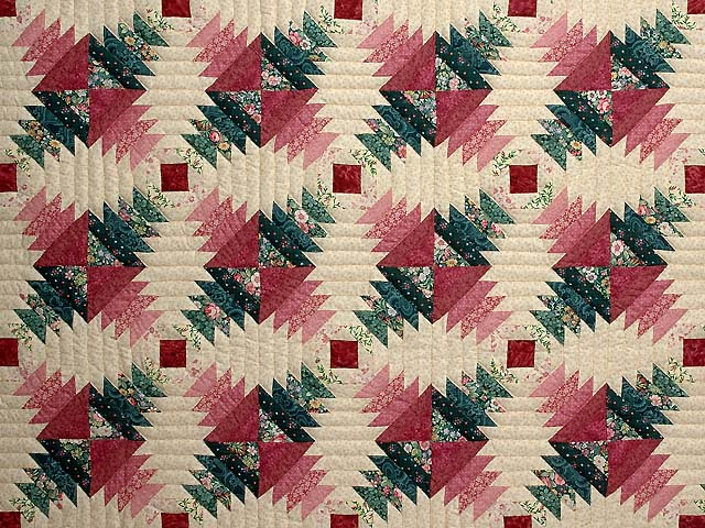 Rose Pink Teal Green Pineapple Quilt Photo 3