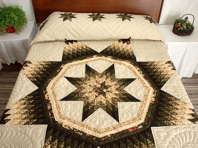 King Dark Green Peach  and Tan Royal Star of Maryland Quilt Photo 1