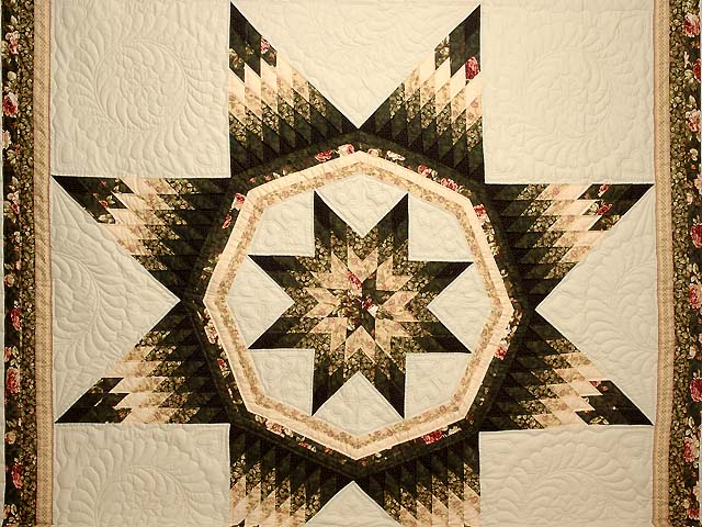 King Dark Green Peach  and Tan Royal Star of Maryland Quilt Photo 3