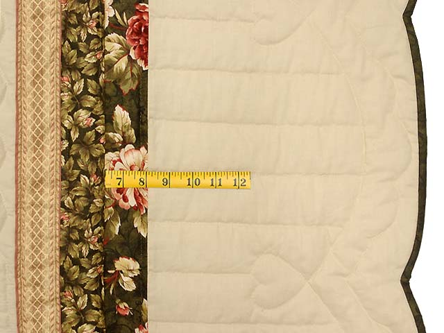 King Dark Green Peach  and Tan Royal Star of Maryland Quilt Photo 7