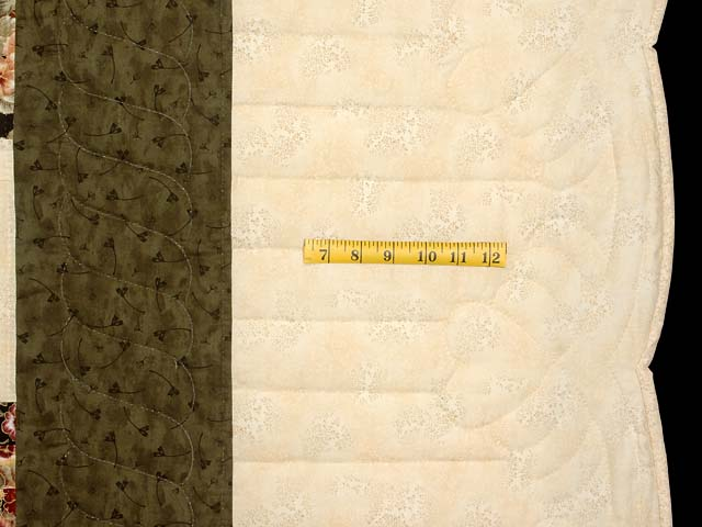 King Green Cream and Burgundy Lone Star Log Cabin Quilt Photo 7