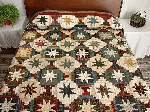 Blue Gold Burgundy and Multi Court Step Stars Quilt Photo 1