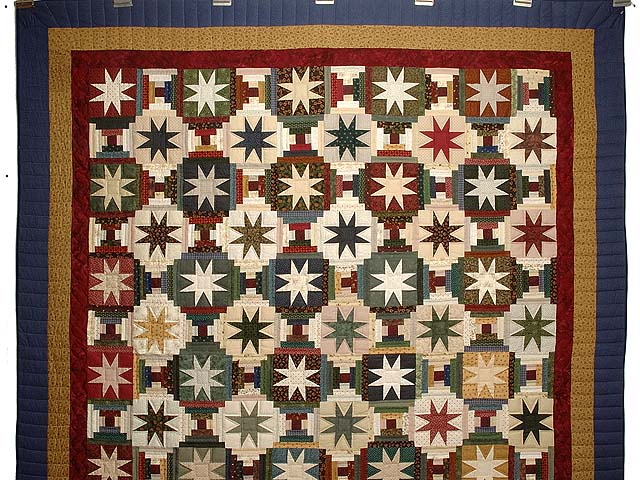 Blue Gold Burgundy and Multi Court Step Stars Quilt Photo 2