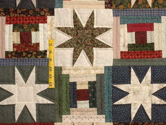 Blue Gold Burgundy and Multi Court Step Stars Quilt Photo 4