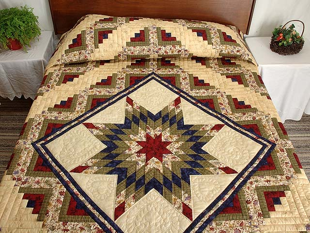 King Navy Burgundy and Multi Lone Star Log Cabin Quilt Photo 1