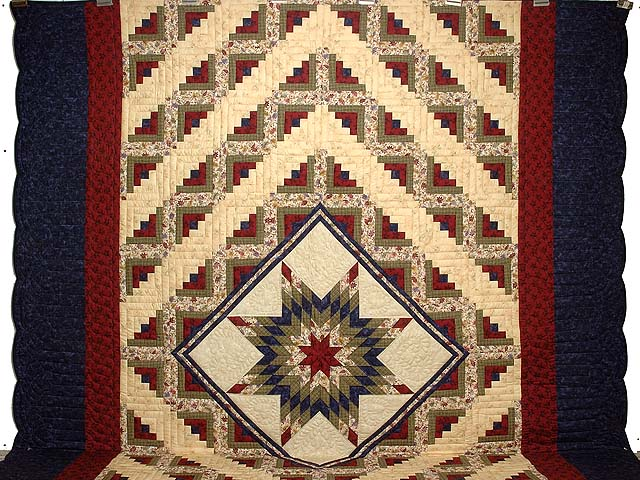 King Navy Burgundy and Multi Lone Star Log Cabin Quilt Photo 2