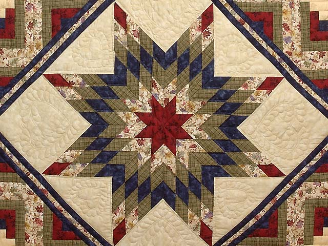King Navy Burgundy and Multi Lone Star Log Cabin Quilt Photo 3