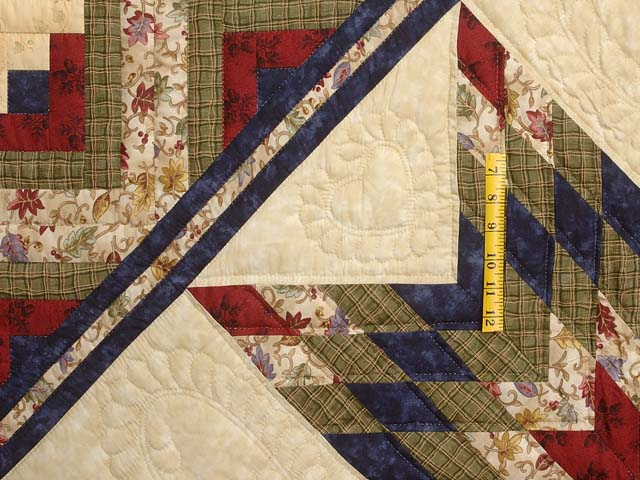 King Navy Burgundy and Multi Lone Star Log Cabin Quilt Photo 4
