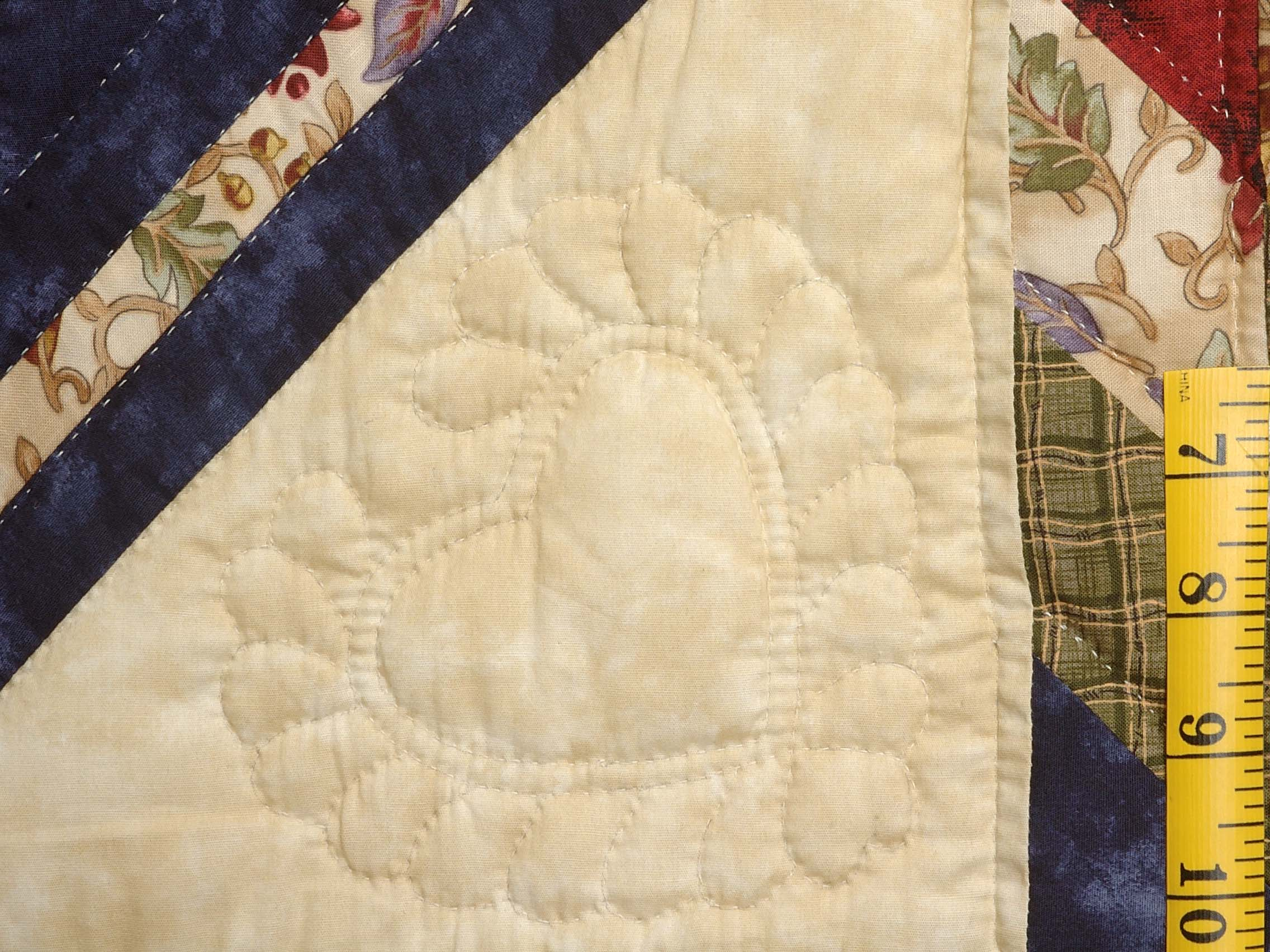 King Navy Burgundy and Multi Lone Star Log Cabin Quilt Photo 5